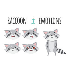 cute raccoon set of emotions vector image
