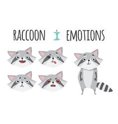 cute raccoon set of emotions vector image