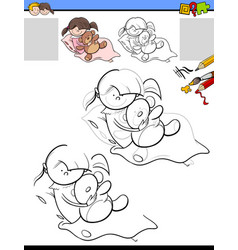 drawing and coloring task with girl and her teddy vector image