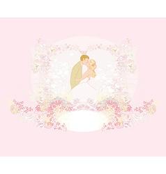 elegant wedding invitation with kissing wedding vector image