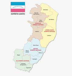 Espirito santo administrative map with flag vector