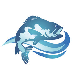 fish and wave vector image