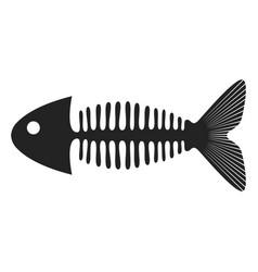 fish skeleton symbol in black icon fishbone vector image