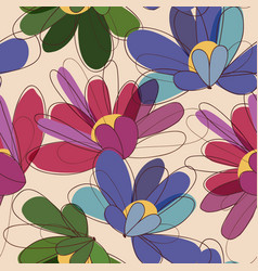 Floral seamless pattern in retro colors vector
