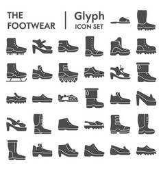 Footwear glyph icon set boots symbols collection vector