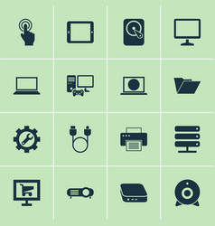 gadget icons set with internet printer projector vector image