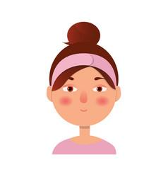 girl icon woman avatar face icon cartoon style vector image