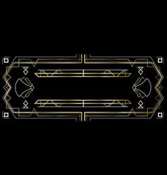 Gold and black vintage art deco banner frame vector