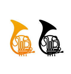 Golden french horn vector