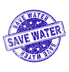 Grunge textured save water stamp seal vector