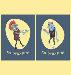 Halloween night zombies on vector
