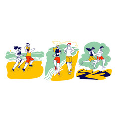 Happy couple man woman characters in sports wear vector