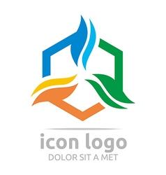 Hexagon icon shape design symbol abstract logo vector