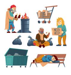Homeless beggars cartoon characters set vector