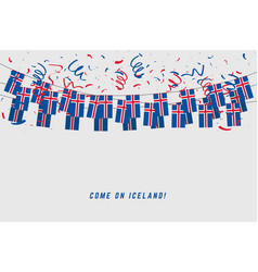 iceland garland flag with confetti vector image