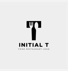 Initial t food equipment simple logo template vector