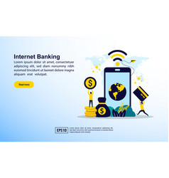internet banking concept with icon and character vector image