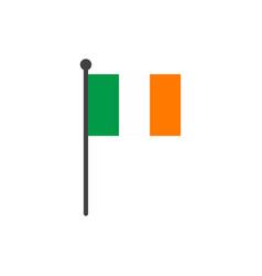ireland flag with pole icon isolated on white vector image