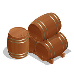 isometric wine barrels isolated on white vector image