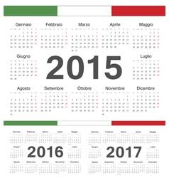 Italian circle calendars 2015 2016 2017 vector image