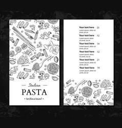 Italian pasta restaurant menu hand drawn vector