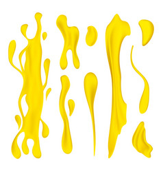 juice or oil drips and splashes set 3d realistic vector image