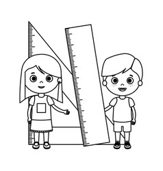 Little kids students couple with rule vector