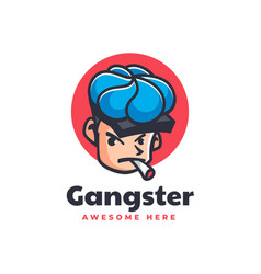 logo gangster mascot cartoon style vector image