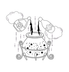 magic witch cauldron with potion bottle vector image