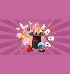 Magician rabbit banner horizontal cartoon style vector