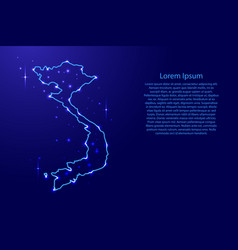 Map vietnam from the contours network blue vector