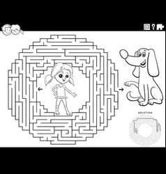 Maze game with girl and puppy dog coloring book vector