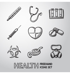 Medicine and health care colorful freehand icons vector image