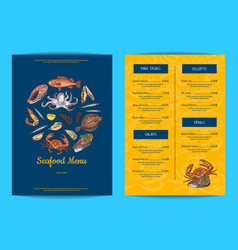 Menu template for restaurant shop or cafe vector