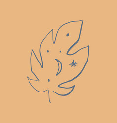 minimalist tropical leaf logo monstera with moon vector image