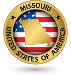 Missouri state gold label with state map vector
