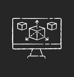 Modeling chalk white icon on black background vector