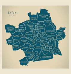 Modern city map - erfurt city of germany with vector