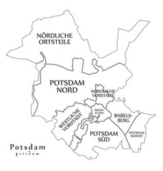 Modern city map - potsdam city of germany with vector