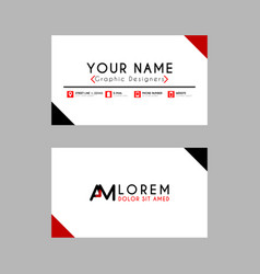 modern creative business card template with am vector image
