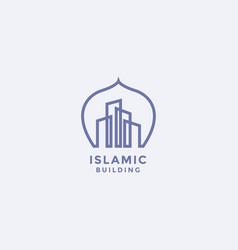 Mono line dome and building logo design vector