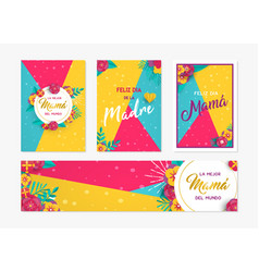 mother day paper card and label set in spanish vector image