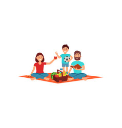 mother father and their little son on picnic vector image