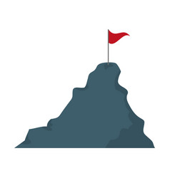 mountain red flag vector image