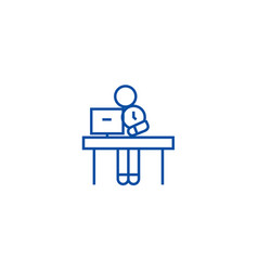 office time management line icon concept office vector image