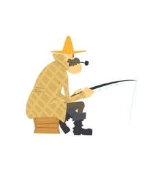 Old Man Fishing vector