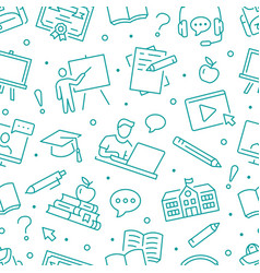 online education seamless pattern vector image