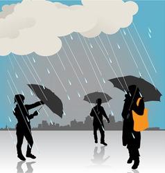 Peoples under rain vector