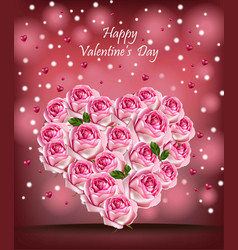 pink roses heart realistic happy valentine vector image