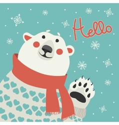 Polar bear says hello vector image